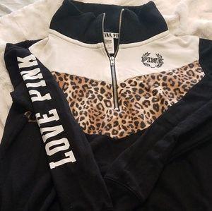 Black and leopard half zip sweatshirt